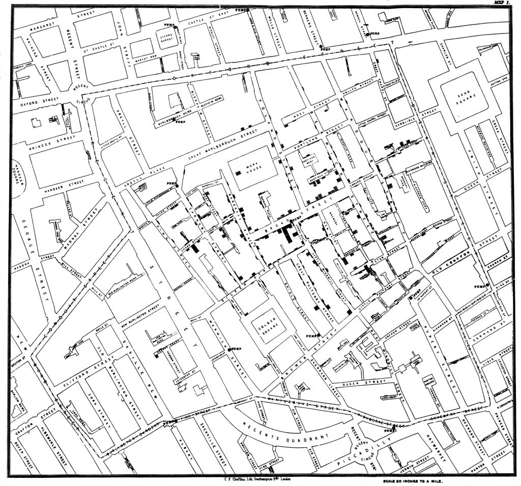 Original map made by John Snow in 1854. Cholera cases are highlighted in black en.wikipedia