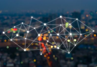 Big data connections. IOT - internet of things. Future technology digital concept on blurred abstract background of world map night city scape Photo by asawin form PxHere